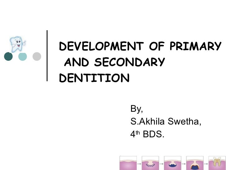 DEVELOPMENT OF PRIMARY  AND SECONDARY DENTITION By, S.Akhila Swetha, 4 th  BDS.