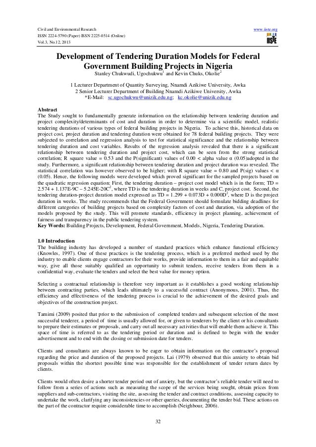 Civil and Environmental Research ISSN 2224-5790 (Paper) ISSN 2225-0514 (Online) Vol.3, No.12, 2013  www.iiste.org  Develop...