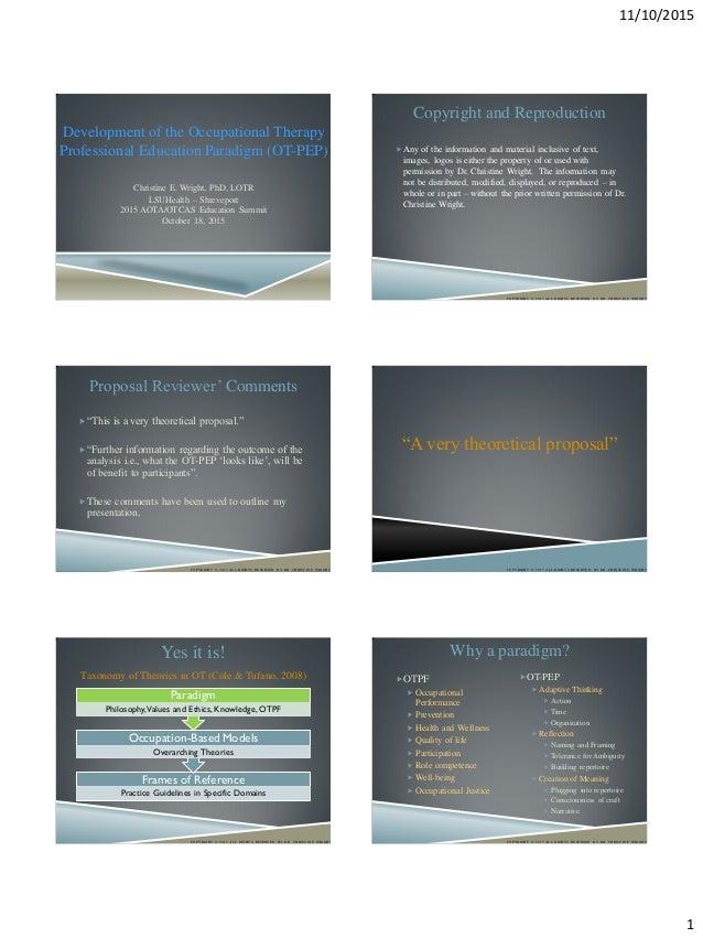 Development of the ot professional education paradigm