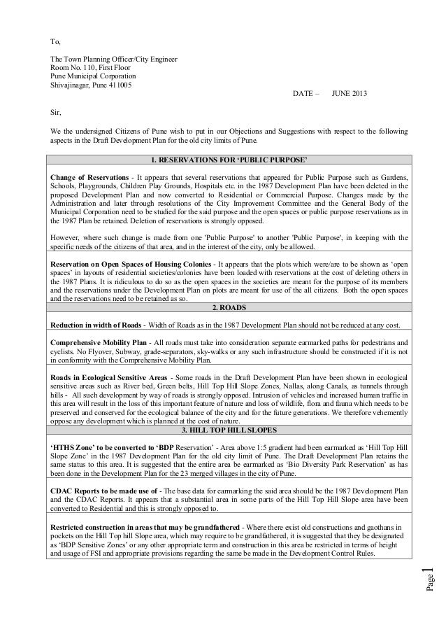 Page1To,The Town Planning Officer/City EngineerRoom No. 110, First FloorPune Municipal CorporationShivajinagar, Pune 41100...