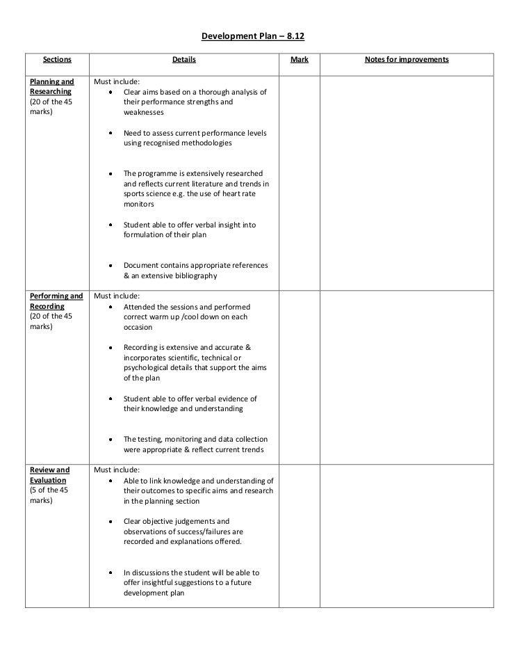 Development Plan – 8.12   Sections                             Details                          Mark   Notes for improveme...