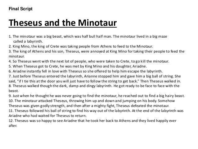 thesis minotaur Theseus killed the minotaur with the sword of aegeus and led the other athenians back out of the labyrinth on the way home, theseus abandoned ariadne on the island of naxos and continued he neglected, however, to put up the white sail.