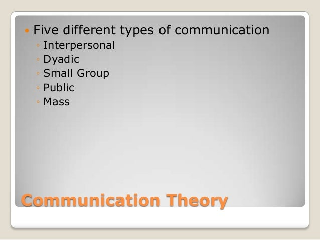    Five different types of communication    ◦   Interpersonal    ◦   Dyadic    ◦   Small Group    ◦   Public    ◦   MassC...