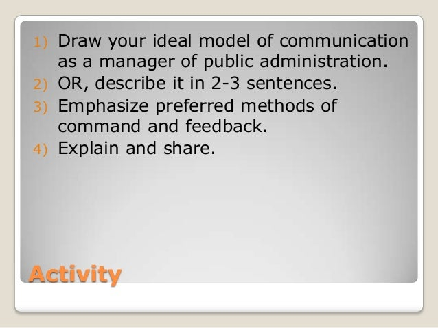 1) Draw your ideal model of communication   as a manager of public administration.2) OR, describe it in 2-3 sentences.3) E...