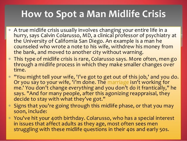 Mid life crisis stages