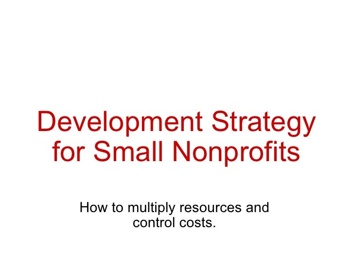 Development Strategy for Small Nonprofits How to multiply resources and control costs.