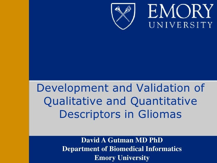 Development and Validation of Qualitative and Quantitative   Descriptors in Gliomas         David A Gutman MD PhD    Depar...