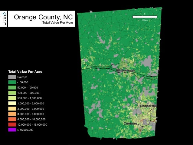 Orange County, NC  Total Value Per Acre