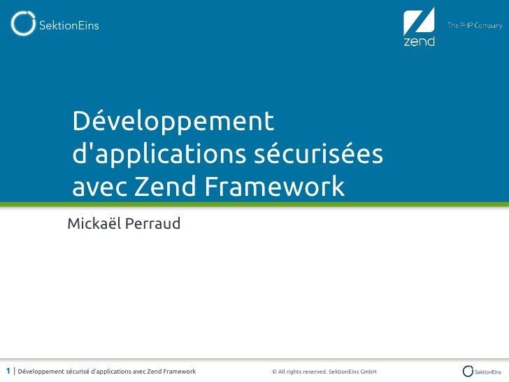 Développement sécurisé d'applications avec Zend Framework