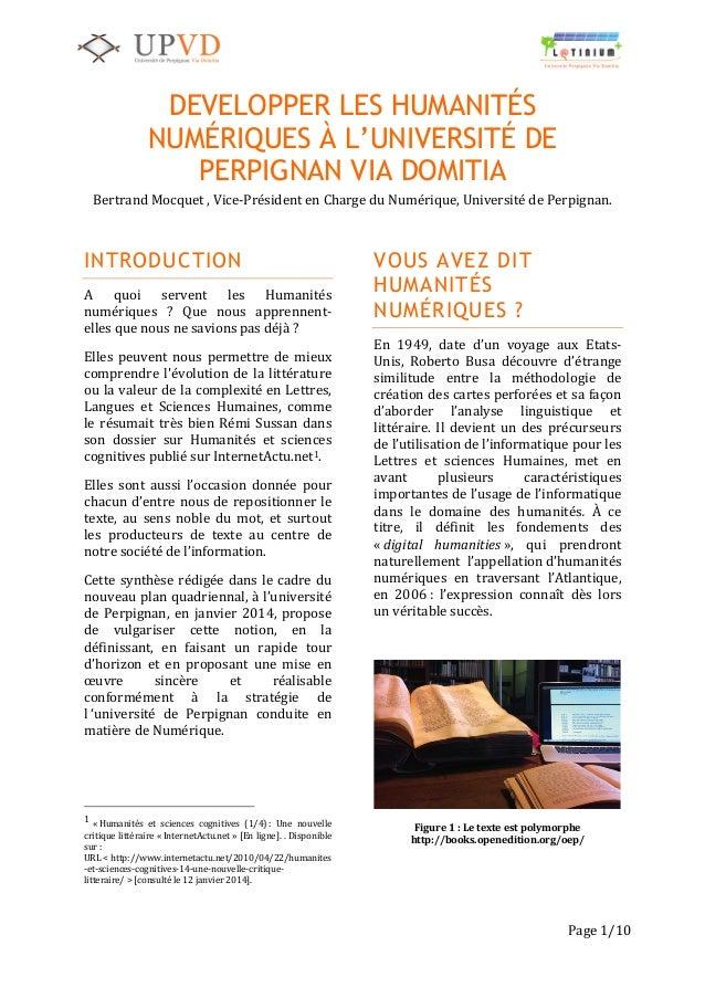 1   Page  1/10   DEVELOPPER LES HUMANITÉS NUMÉRIQUES À L'UNIVERSITÉ DE PERPIGNAN VIA DOMITIA Bertrand  Mocq...