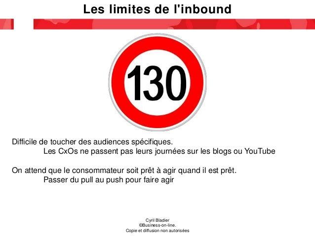 Les limites de l'inbound Cyril Bladier ©Business-on-line. Copie et diffusion non autorisées Difficile de toucher des audie...