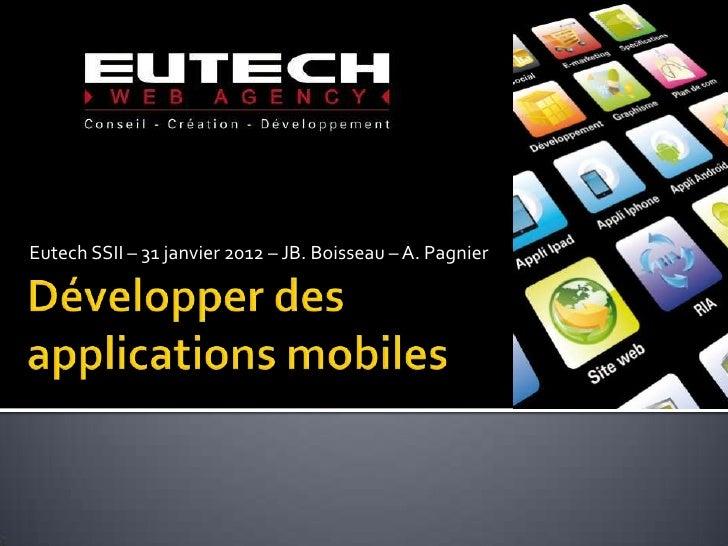 Eutech SSII – 31 janvier 2012 – JB. Boisseau – A. Pagnier
