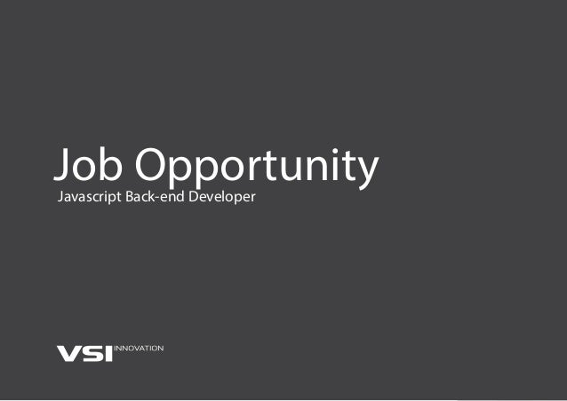 Job OpportunityJavascript Back-end Developer