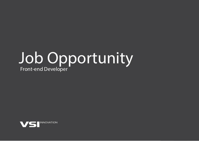 Job OpportunityFront-end Developer
