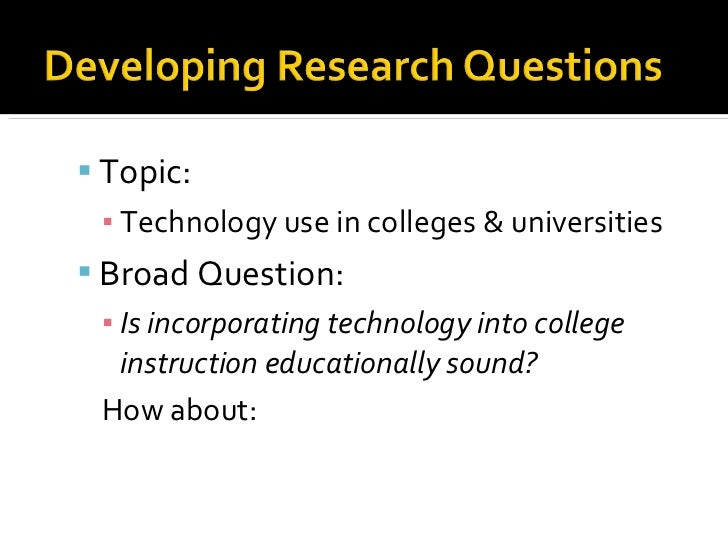 Developing a research question for dissertation