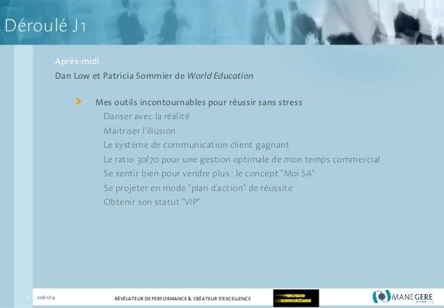 Déroulé J1 Après-midi Dan Low et Patricia Sommier de World Education Mes outils incontournables pour réussir sans stress D...