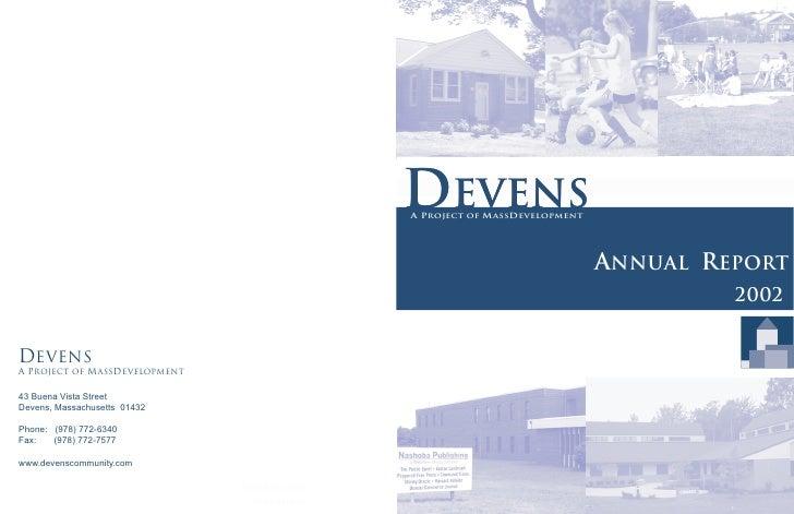 Devens A Project of MassDevelopment                                    Annual Report                                      ...