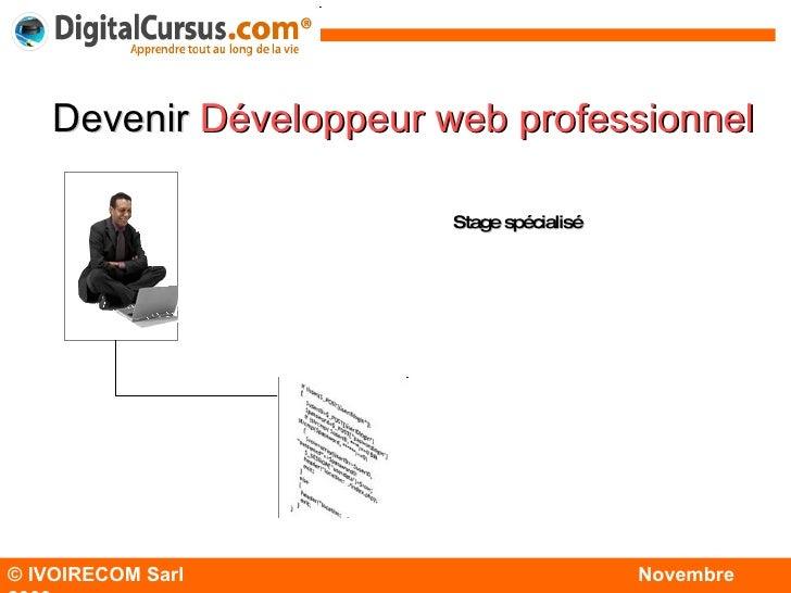 © IVOIRECOM Sarl  Novembre  2009 Devenir   Développeur  web  professionnel Stage spécialisé Modules de base Modules spécia...