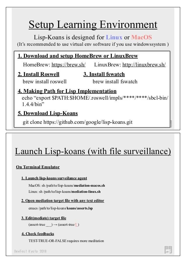 Devfest kyoto2018 Lisp-Koans