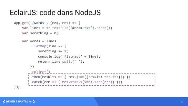 10DEVFEST NANTES 16 app.get('/words', (req, res) => { var lines = sc.textFile('dream.txt').cache(); var something = 0; var...