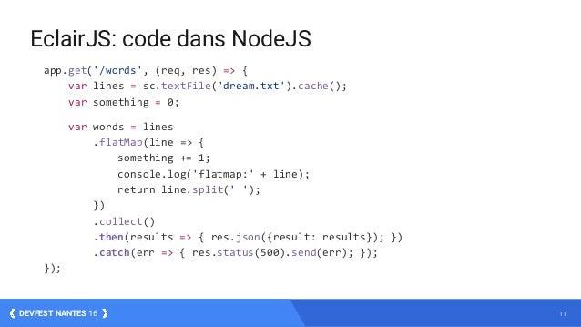 11DEVFEST NANTES 16 app.get('/words', (req, res) => { var lines = sc.textFile('dream.txt').cache(); var something = 0; var...