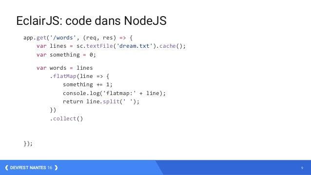 9DEVFEST NANTES 16 app.get('/words', (req, res) => { var lines = sc.textFile('dream.txt').cache(); var something = 0; var ...