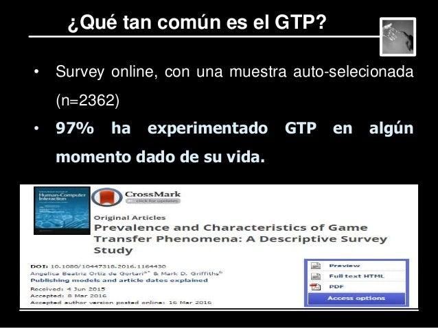 Niveles de severidad de GTP – Basado en la frecuencia y variedad de tipos de GTP experimentados (N=2281) • 58% - Bajo • 35...