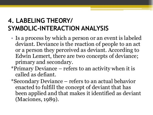 labeling theory of deviance Labeling theory investigates how the behaviour and self-identity of  it posits that  crime and deviance are not inherent aspects of some act or decision, and.
