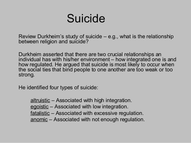an introduction to the analysis of egoistic and anomie suicide by durkheim Emile durkheim's theories on suicide i chose to write about durkheim's theories on suicide and anomic with egoistic suicide, durkheim the main purpose of this document is to give an explanation to durkheim's theory in the light of his sociological analysis of suicide.