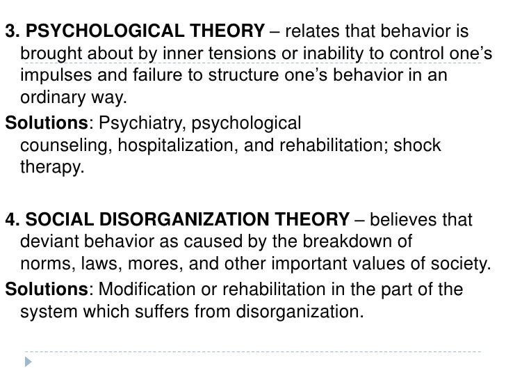 theories of deviant behavior This is one of the limitations of labeling theory it does not get inside the experience or the mind of the deviant individual to examine and explain issues such as motivation and the thought and decision-making processes that precede the actualization of the deviant behavior (40).