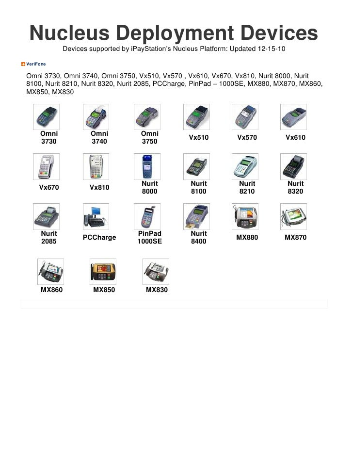 Nucleus Deployment Devices              Devices supported by iPayStation's Nucleus Platform: Updated 12-15-10VeriFoneOmni ...