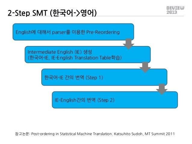 2-Step SMT (한국어->영어) English에 대해서 parser를 이용한 Pre-Reordering  Intermediate English (IE) 생성 (한국어-IE, IE-English Translation...