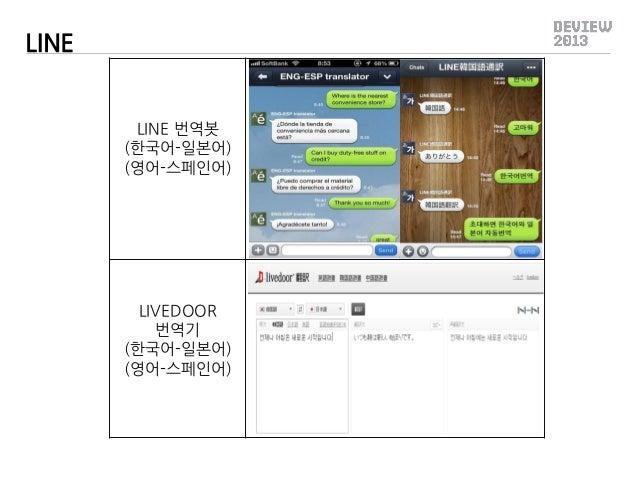 LINE  LINE 번역봇 (한국어-일본어) (영어-스페인어)  LIVEDOOR 번역기 (한국어-일본어) (영어-스페인어)