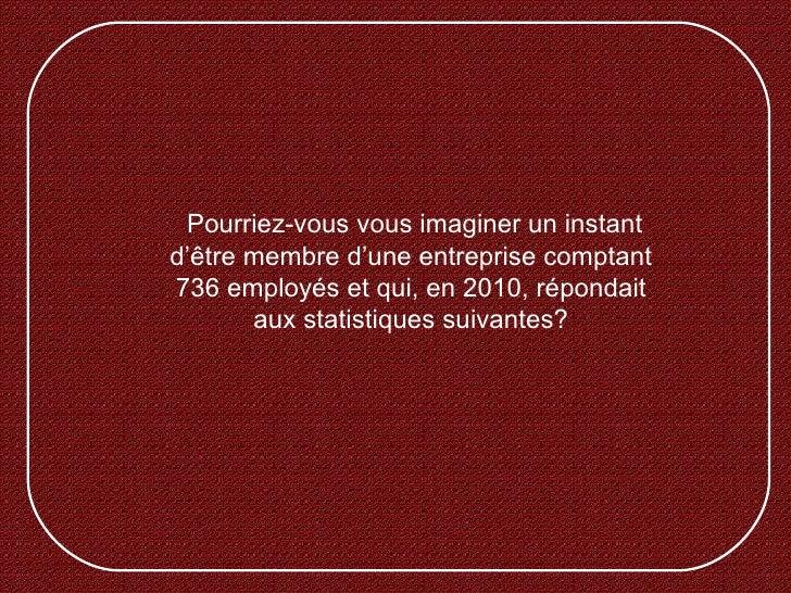 Pourriez-vous vous imaginer un instantd'être membre d'une entreprise comptant736 employés et qui, en 2010, répondait      ...