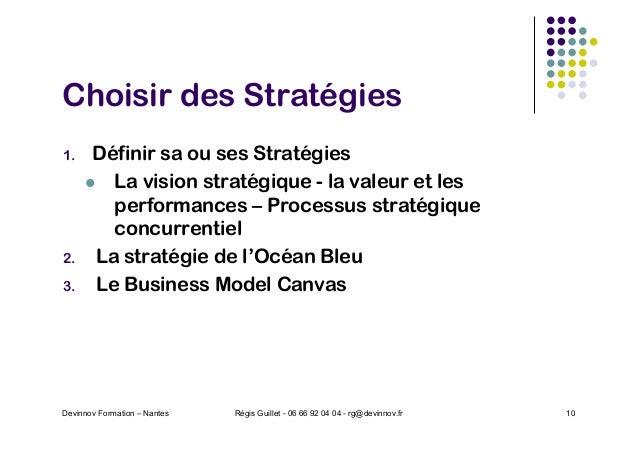 Choisir des Stratégies 1. Définir sa ou ses Stratégies l La vision stratégique - la valeur et les performances – Processus...