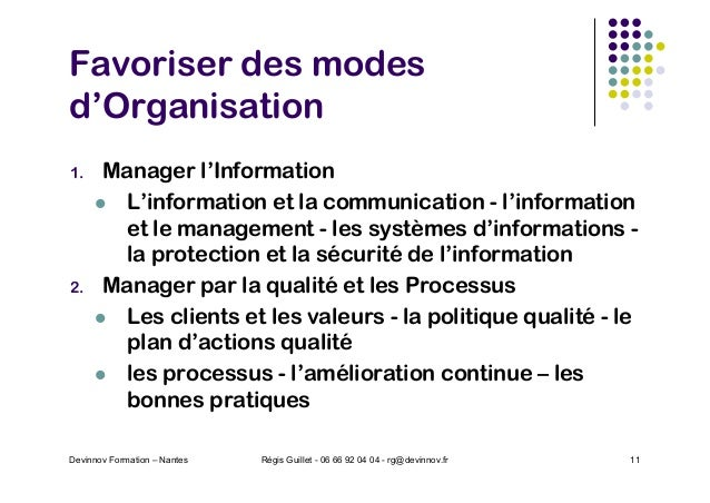 Favoriser des modes d'Organisation 1. Manager l'Information l L'information et la communication - l'information et le mana...