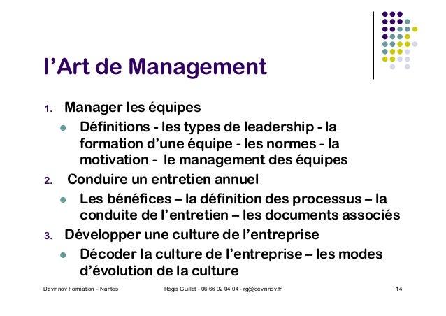 l'Art de Management 1. Manager les équipes l Définitions - les types de leadership - la formation d'une équipe - les norme...