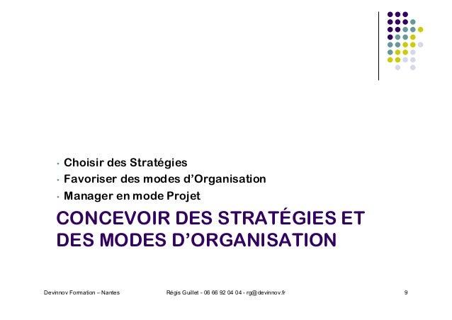 CONCEVOIR DES STRATÉGIES ET DES MODES D'ORGANISATION • Choisir des Stratégies • Favoriser des modes d'Organisation • Manag...