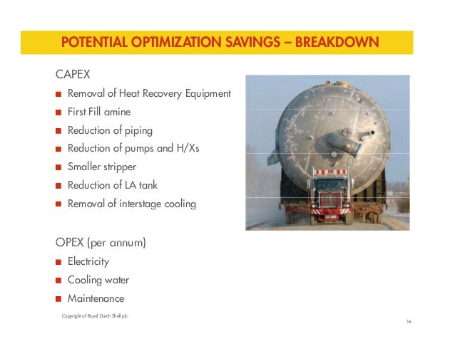 POTENTIAL OPTIMIZATION SAVINGS – BREAKDOWN  CAPEX  Removal of Heat Recovery Equipment  First Fill amine  Reduction of pipi...