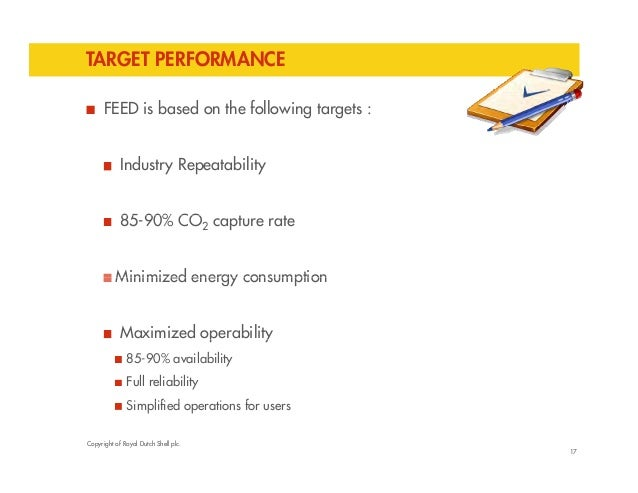 TARGET PERFORMANCE  FEED is based on the following targets :  Industry Repeatability  85-90% CO2 capture rate  Minimized e...
