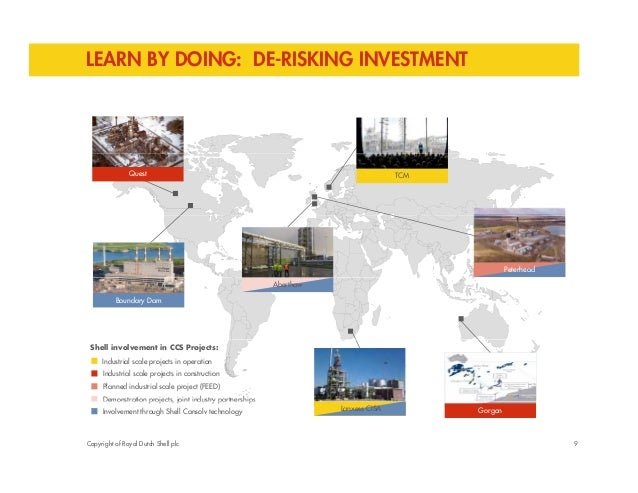 LEARN BY DOING: DE-RISKING INVESTMENT  Quest TCM  Peterhead  Boundary Dam  Aberthaw  Shell involvement in CCS Projects:  I...