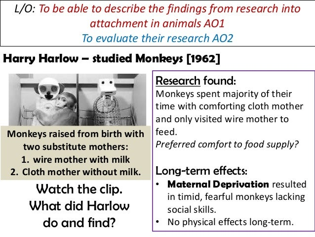 outline and evaluate research into the effects of deprivation The concepts of a critical period and an internal working model ainsworth's ' strange situation' types of attachment: secure, insecure-avoidant and insecure resistant cultural variations in attachment, including van ijzendoorn bowlby's theory of maternal deprivation romanian orphan studies: effects of institutionalisation.