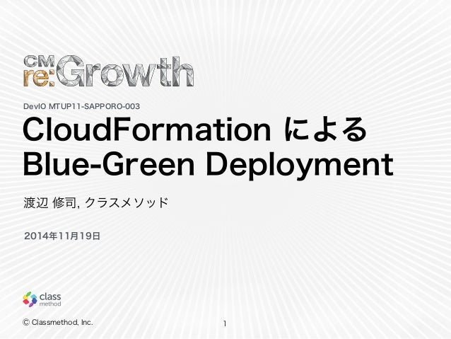 CloudFormation による  Blue-Green Deployment  Ⓒ Classmethod, Inc.  1  DevIO MTUP11-SAPPORO-003  渡辺 修司, クラスメソッド  2014年11月19日
