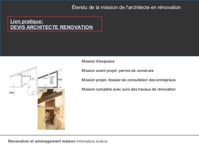 devis architecte renovation. Black Bedroom Furniture Sets. Home Design Ideas