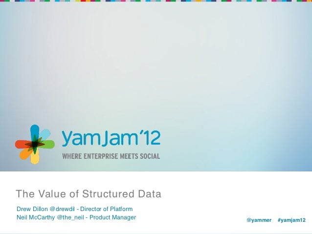 The Value of Structured Data!Drew Dillon @drewdil - Director of Platform!Neil McCarthy @the_neil - Product Manager!     @y...