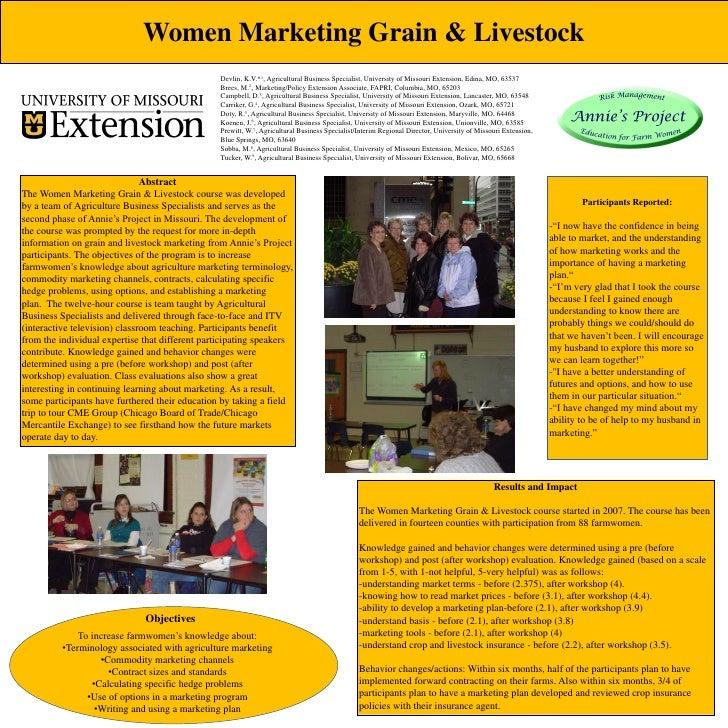 Women Marketing Grain & Livestock                                                 Devlin, K.V.*1, Agricultural Business Sp...