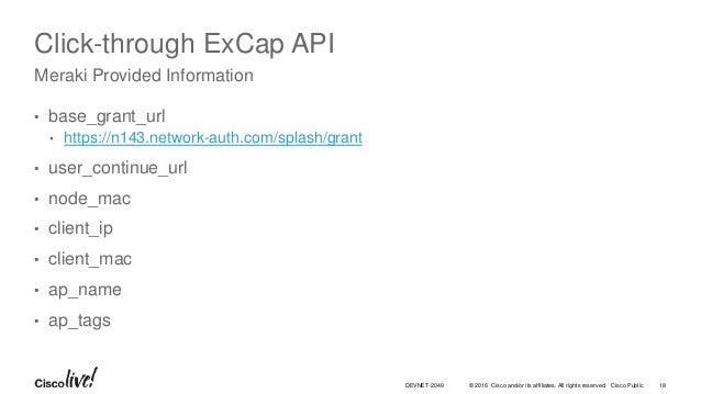 Building a WiFi Hotspot with NodeJS: Cisco Meraki - ExCap API