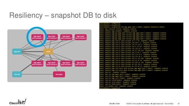 © 2016 Cisco and/or its affiliates. All rights reserved. Cisco Public 27DEVNET-2064 Resiliency – snapshot DB to disk