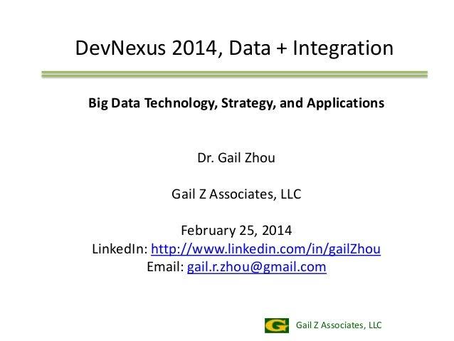 DevNexus 2014, Data + Integration Big Data Technology, Strategy, and Applications  Dr. Gail Zhou Gail Z Associates, LLC Fe...