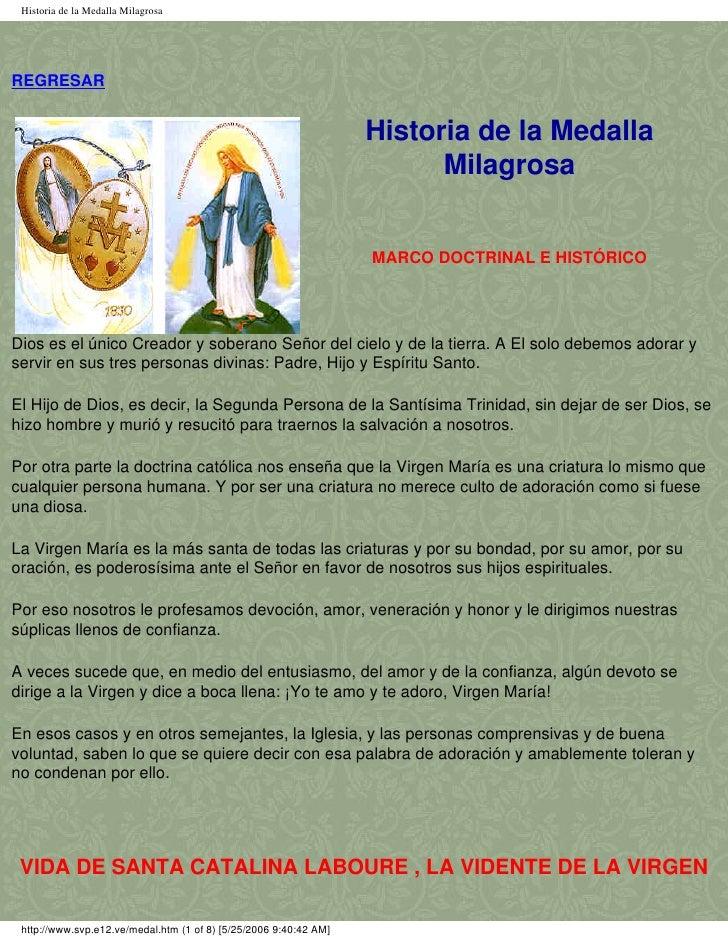 Historia de la Medalla MilagrosaREGRESAR                                                                   Historia de la ...